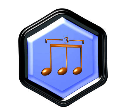 triplet: Pentagon button for music in 3D for web