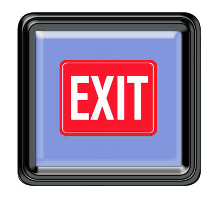 exit icon: Exit sign button for the web square