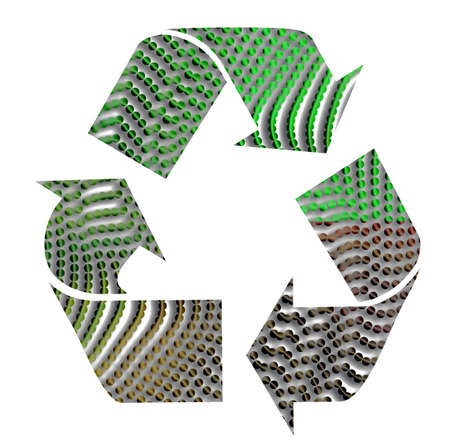 Recycling sign with black turning green in dots Stock Photo - 2642865