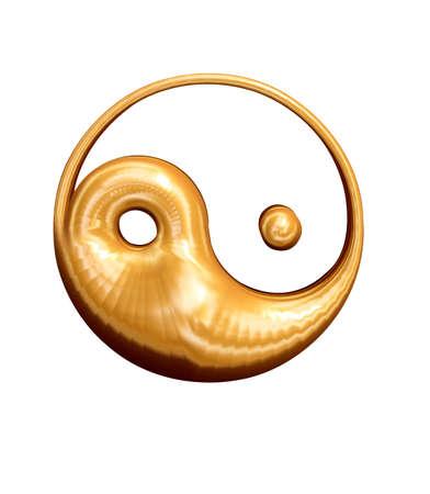 ying: Golden 3D Yin Yang sign asian symbol of good and bad Stock Photo