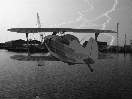 thundering: Lightning strike in a dockyard with a biplane flying           Stock Photo