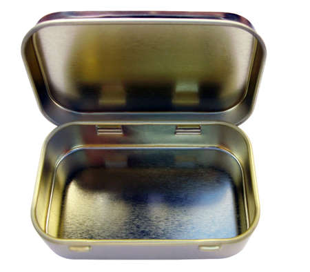 coppers: Vintage hinged tin can used for sweets or tablets Stock Photo