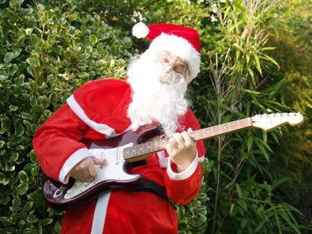 Santa rocks ! the slogan of young people today       Stock Photo