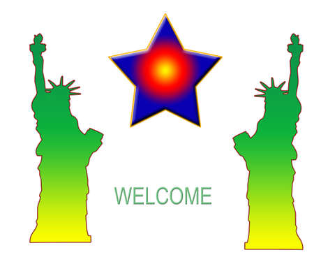 unites: Statue of Liberty with star with welcome Stock Photo