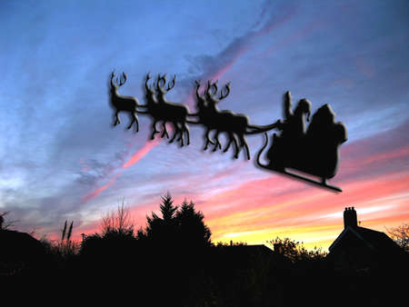 chimney pot: Santas christmas eve delivery with chimney pot        Stock Photo