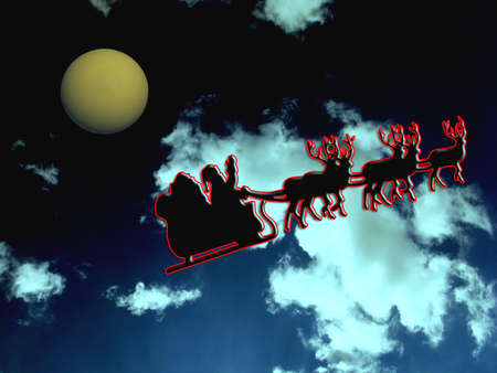 st nick: Christmas eve with a christmas moon shining Stock Photo