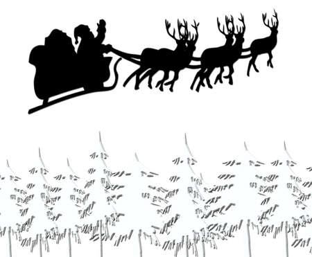 Santa flying across christmas trees with snow