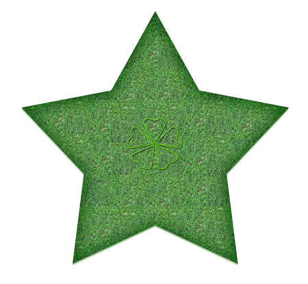 Green star with a heart for nature lovers photo