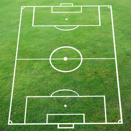 ballsport: Soccer pitch with perspective smooth surface Stock Photo