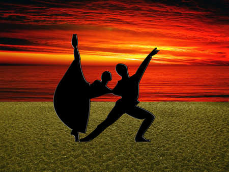 Ballet on Brighton Beach with beautiful sunset Stock Photo - 3899169