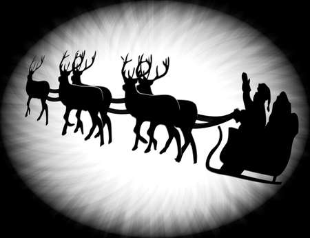 Silhouette of santa and his star and reindeer