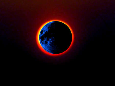 Blue moon being eclipsed by the sun  photo