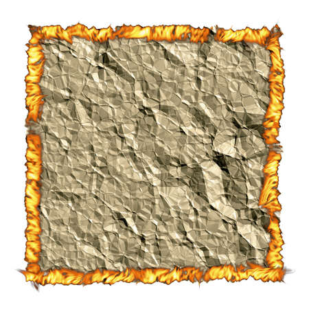 crumple: Crumple paper background with torn edges creases and fire Stock Photo