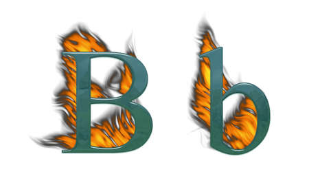 Letter B on fire glass with class photo