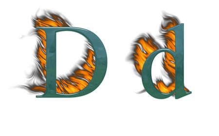 Letter d burning green glass with class photo
