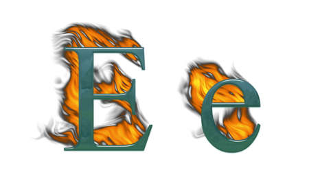 Letter E Burning green glass with class photo