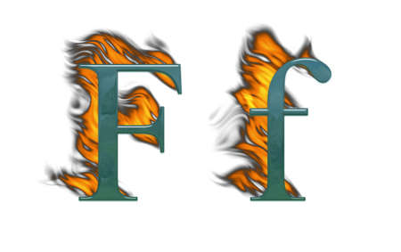 Letter F burning green glass with class photo