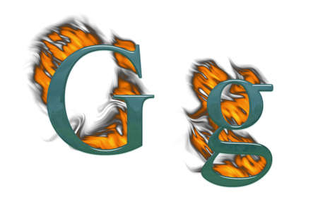 Letter G burning green glass with class photo