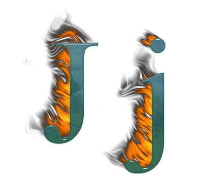Letter J burning green class with class Stock Photo - 4839653