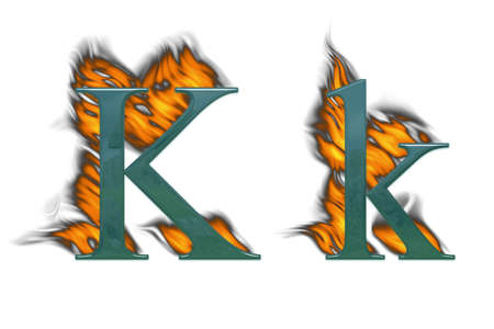 Letter K burning green class with class photo
