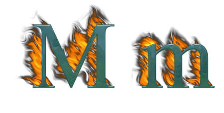 wildfire: Letter M burning green glass with class