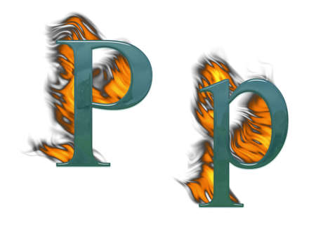 Letter P burning green glass with class Stock Photo - 4839661