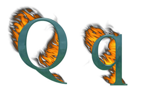 Letter Q burning, green glass with class photo