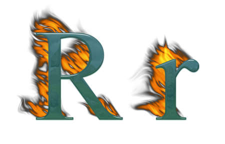 Letter R burning, green glass with class photo