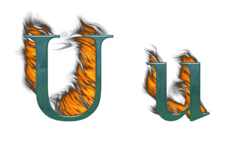 wildfire: Letter U burning green glass with class