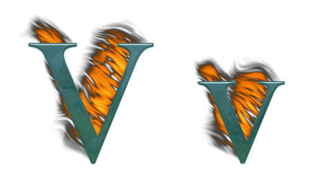 Letter V burning green glass with class photo
