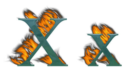 Letter X burning green glass with class photo