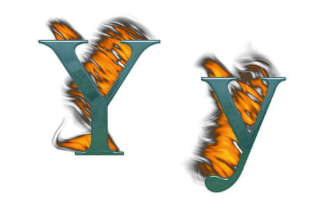 Letter Y burning green glass with class Stock Photo - 4839662