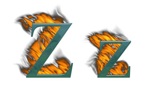 Letter Z burning green glass with class photo