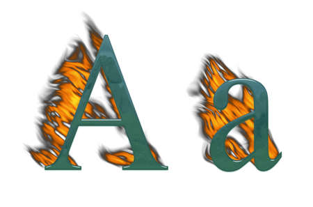 wildfire: Letter A with fire glass with class Stock Photo