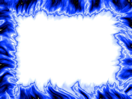 blue flame: Blue flames fan the frame with a little lightning Stock Photo