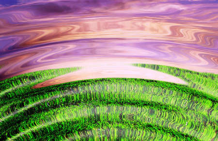 Sunrise on a green earth, artistic impression Stock Photo - 5376646