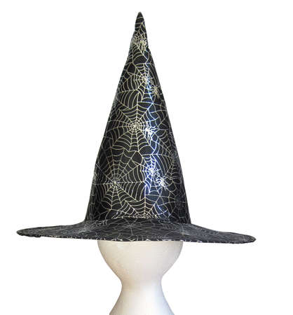 Witches hat for Halloween with a web                                photo