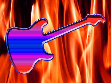 Illustration of a rock guitar on fire Stock Illustration - 5700668