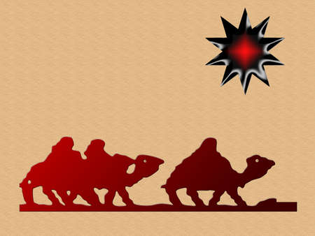 Cartoon camels and wise men following the star Stock Photo - 5750602