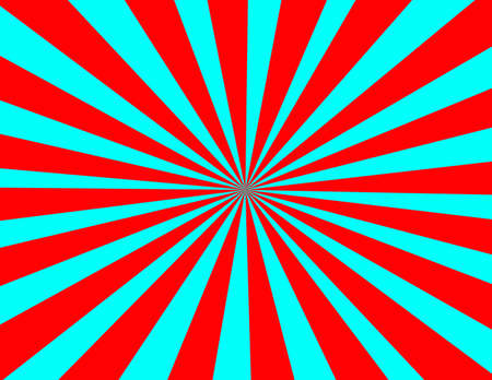 sunrays: Starburst in red and blue retro appeal Stock Photo