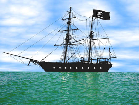 corsair: Illustration of a Pirate ship at anchor, lots about.