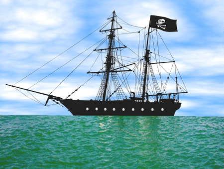 Ilustración de un barco pirata en ancla, lotes sobre.
