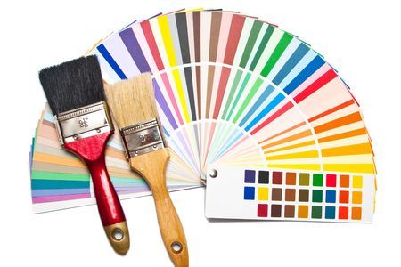 Two paint brush and color guide on white background