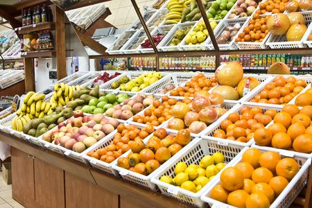 A shot of fruit and vegetables section in a grocery store
