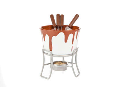 Fondue set isolated on a white background photo