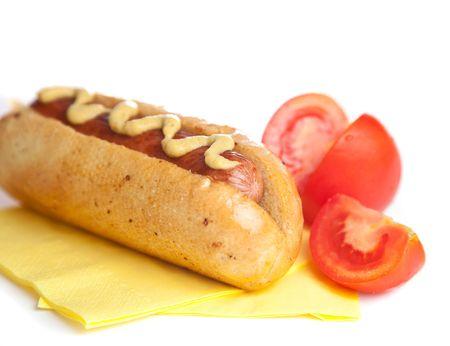Hot dog with tomato