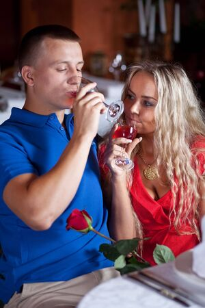 The man and the fine girl on love appointment at restaurant