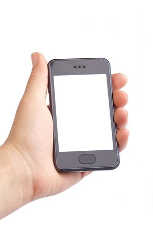 hand holding modern smart phone on white