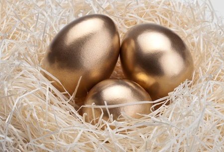 Three golden eggs in the birds nest photo