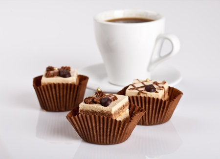 Chocolate Cakes and a cup of hot coffee